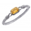 Alesandro Menegati 14K Accented Sterling Silver Bangle with Diamonds and Citrine
