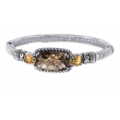 Alesandro Menegati 14K Accented Sterling Silver Bangle with Smoky Quartz and Citrines