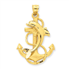 14k Dolphin on Anchor Charm
