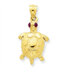 14k Turtle with Ruby Eyes Pendant