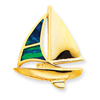 14K Created Opal Sailboat Slide
