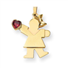 14k Girl with CZ January Birthstone Charm