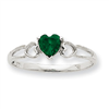 10k White Gold Polished Geniune Emerald Birthstone Ring