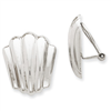 14k White Gold Polished Non-pierced Omega Back Earrings
