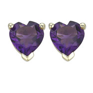 Picture of HEART SHAPE PURPLE AMETHYST PRONG SET STUDS