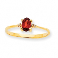 Picture of 10k Polished Geniune Diamond & Garnet Birthstone Ring