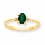 Picture of 10k Polished Geniune Diamond & Emerald Birthstone Ring