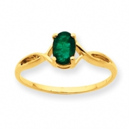 Picture of 10k Polished Geniune Emerald Birthstone Ring