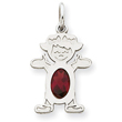 14K White Gold Girl 7x5 Oval Genuine Garnet-January Charm