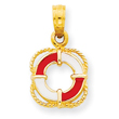 14K Gold Enameled Lifesaver Ring Pendant