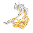 14K Gold & Rhodium Filigree Floral Pin