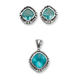 Sterling Silver Blue CZ Pendant & Earring Set