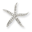 14K White Gold Diamond Star Fish Pendant