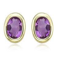 Picture of OVAL SHAPE AMETHYST BEZEL SET STUDS