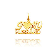 "Picture of 14K Yellow Gold ""I (Heart) My Husband"" Charm"