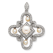 Picture of Sterling Silver Imitation Pearl And CZ Pendant