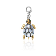 Picture of 14K Two-Tone  Gold  Green Garnet, Orange Sapphire And Mother Of Pearl  Charm