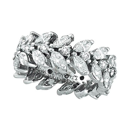 18k White Gold Marquise 4 02ct Diamond Eternity Floral