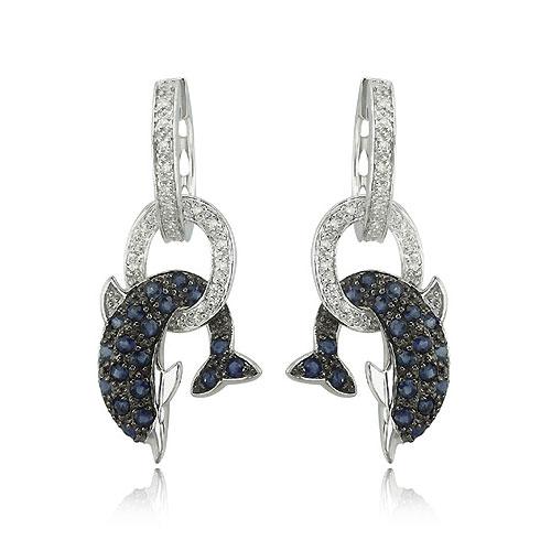 14k White Gold Blue Sapphire Amp Diamond Dolphin Earrings