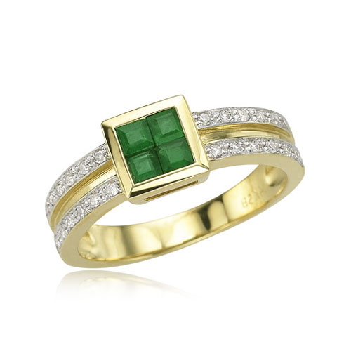 square emerald and ring