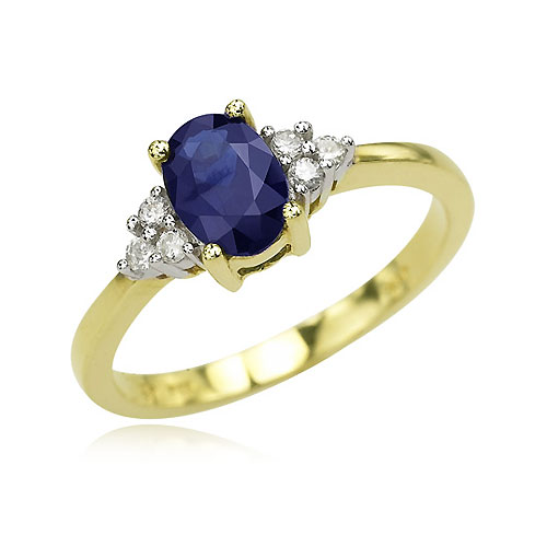 14k Yellow Gold Oval Sapphire Amp Round Diamond Cluster Ring
