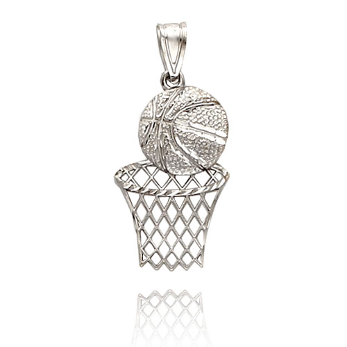 Basketball Pendants on Picture Of 14k White Gold Diamond Cut Basketball   Hoop Pendant