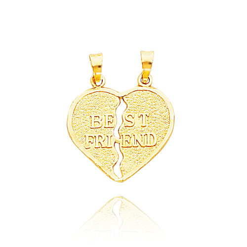 "Picture of 14K Yellow Gold Satin ""Best Friend"" Break-Apart Heart Charm"