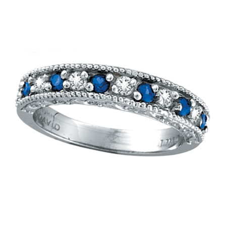 14K White Gold 23ct Diamond and Sapphire Ring Band