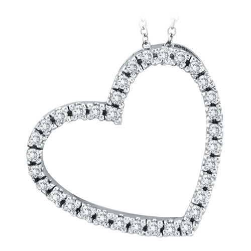 14k white gold 40ct diamond slanted heart pendant necklace mozeypictures Gallery