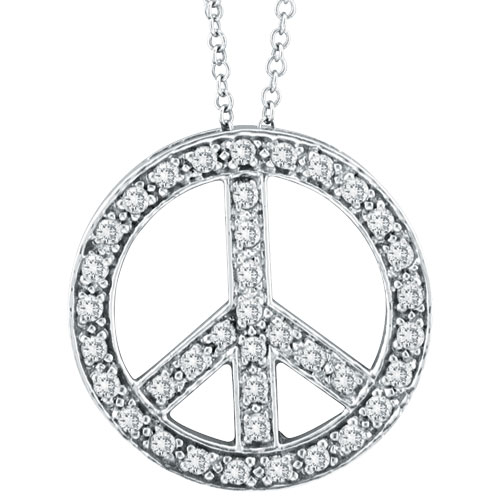 14k White Gold 50ct Diamond Peace Sign Pendant On Cable