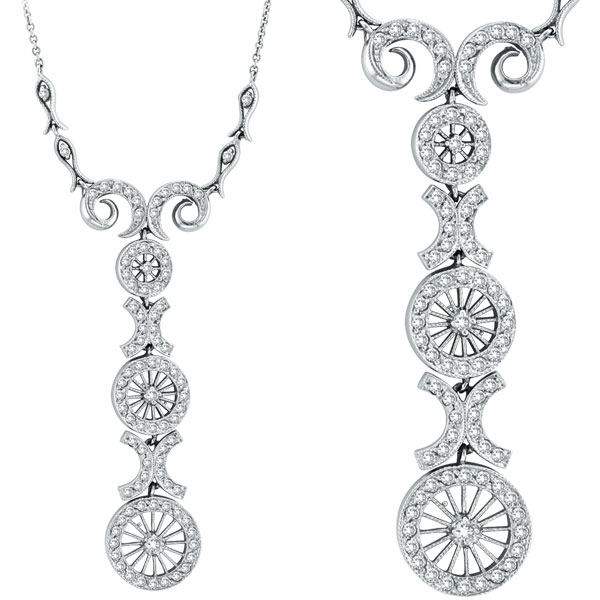 14k white gold antique style 86ct diamond pendant necklace aloadofball Gallery