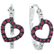 Picture of 14K White Gold Genuine Precious Pink Sapphire & .13ct Diamond Heart Hoop Earrings