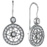 Picture of 14K White Gold .50ct Diamond Flower in Circle Dangle Earrings