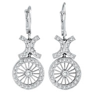Picture of 14K White Gold Antique-Style .69ct Diamond Leverback Earrings
