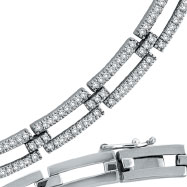 Picture of 14K White Gold Open Long Link Diamond Stampato Necklace