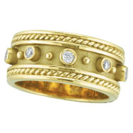 Picture of 18K Yellow Gold Antique Style Bezel Set .18ct Diamond Ring