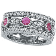 Picture of 14K White Gold .63ct Pink Sapphire and 1.51ct Diamond Eternity Ring Band