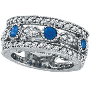 Picture of 14K White Gold 0.60ct Sapphire and 1.51ct Diamond Eternity Ring Band