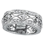 Picture of 14K White Gold 1.0ct Diamond Antiqued Eternity Ring Band