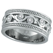 Picture of 14K White Gold .24ct Antique Rustic Style Diamond Band Ring