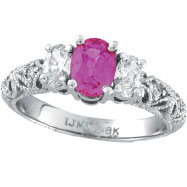 Picture of 14K White Gold 1.1ct Pink Sapphire .55ct Diamond Antique-Style 3-Tier Engagement Ring