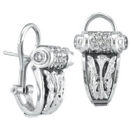 Picture of 18K White Gold Antique-Style .59ct Diamond Scroll French-Style Post Earrings