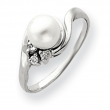 14k 6mm Pearl A Diamond ring