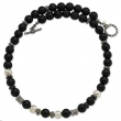 Sterling Silver/14Ky Black Onyx, Silver, Black Enamel, Gold Bead Necklace