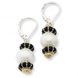 Sterling Silver/14Ky Pearl, Black Enamel & Gold Bead Earring