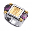 Alesandro Menegati 14K Accented Sterling Silver Ring with Amethysts
