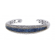Alesandro Menegati 18K Accented Sterling Silver Bangle with Blue Sapphires