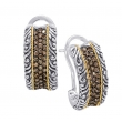 Alesandro Menegati 18K Accented Sterling Silver Earrings with Brown Diamonds