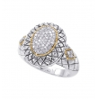 Alesandro Menegati 18K Accented Sterling Silver Ring with Diamonds