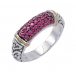 Alesandro Menegati 18K Accented Sterling Silver Ring with Rubies